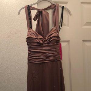 NWT Bronze Floor Length Prom Style Dress